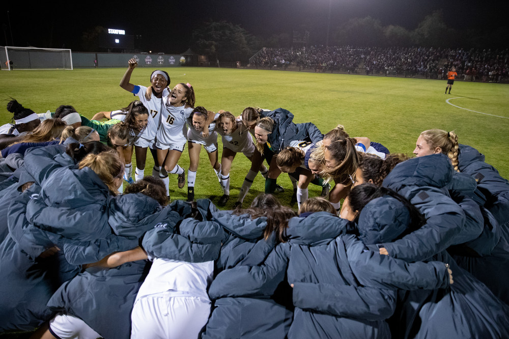 November 8, 2019; Laird Q. Cagan Stadium, Stanford, California, USA; Women's Soccer: California Golden Bears at Stanford Cardinal.  Cal Women's Soccer;  Photo credit: Al Sermeno - KLC fotos