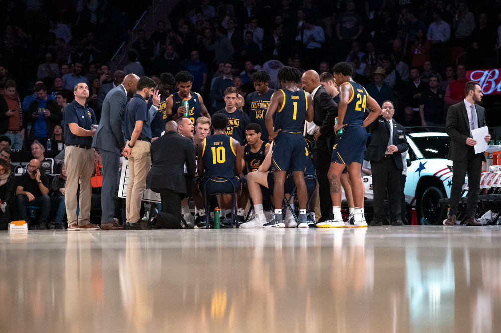 November 21, 2019; Madison Square Garden, New York, New York, USA; Men's Basketball: Empire Classic - California Golden Bears vs. Duke Blue Devils. Cal Men's Basketball;  Photo credit: Al Sermeno - KLC fotos